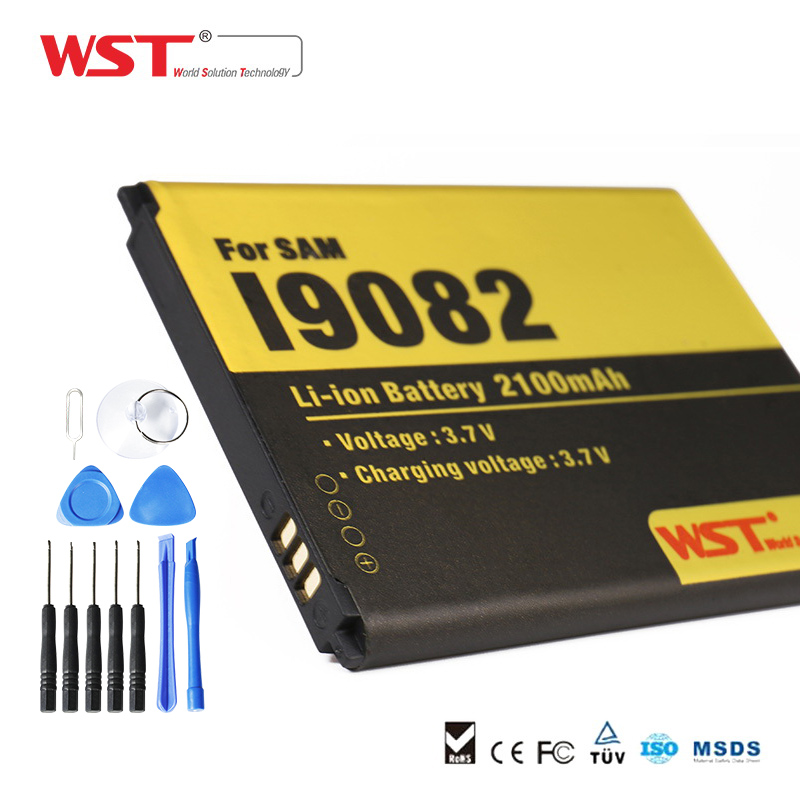 WST 2100mah Batteries Li ion battery for phone battery highscreen 3 7V for Samsung I9082 Galaxy