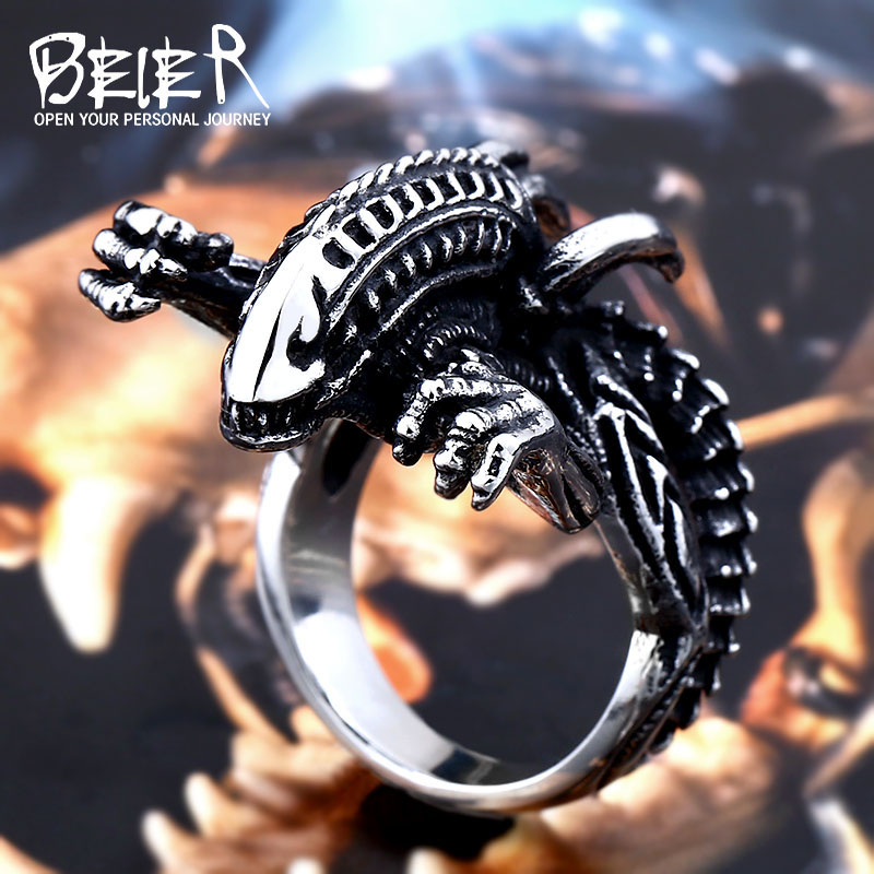 Beier 316L Stainless Steel Alien Predator Finger Rings For Men Gothic Style Movie Jewerly Free shipping Drop shipping BR8-540