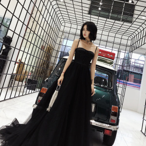 Black Evening Dress Spaghetti Strap Sexy Bandage Formal Prom Dresses Strapless Lace Up Train Elegant Tulle Long Party Gown E085