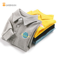 Boys Polo Shirts Turn Down Collar Thick Long Sleeve Solid Cotton Children Kids Boy Bottoming Underwear