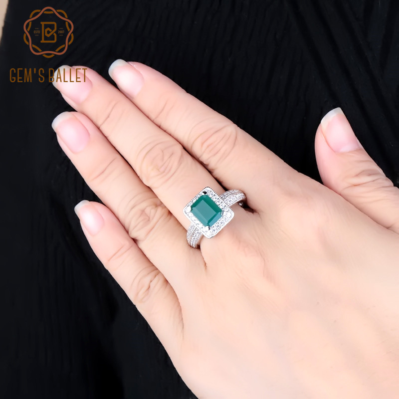 Gem's Ballet 2.05Ct Classic Women Emerald Cut Natural Green Agate Ring 925 Sterling Silver Gemstone Vintage Rings Fine Jewelry