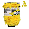 AutoCare 2PCS Waterproof Car Wash Microfiber Chenille Glove 4 In 1 Multifunction Thick Car Cleaning Mitt Car Wax Detailing Brush