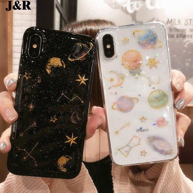 0944e759a116 J R Space Planet Glitter Phone Cases For iPhone 6 6s 7 8 Plus Girly Soft  Silicone Moon Star Back Cover For iPhone X 10 Case