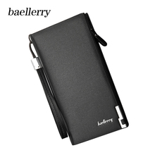 Baellerry Brand Men Leather Wallets Classic Long Style Card Holder Male Purse Quality Zipper Big Luxury Wallet For Clutch