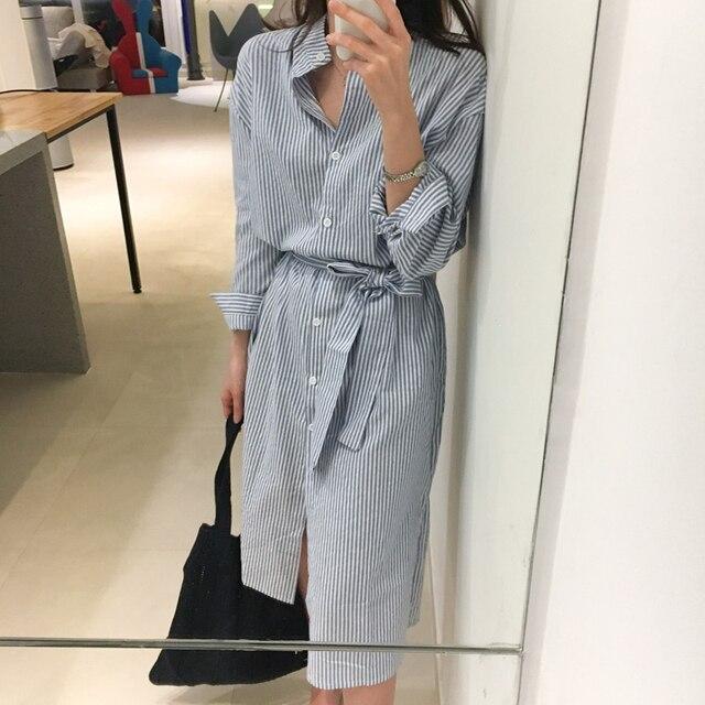 2e3c980758 Estilo coreano rayas camisa vestido con cinturón mujeres vestido de otoño  Casual manga larga Turn-