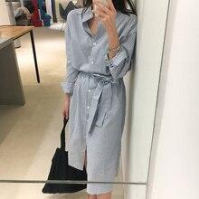 Korean Style Striped Shirt Dress With Belt Women Autumn Dress Casual Long Sleeve Turn-Down Collar Knee Length Midi Dress Jurken