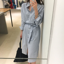 Korean Style Striped Shirt Dress With Belt Women Autumn Dress Casual Long Sleeve Turn-Down Collar Knee Length Midi Dress Jurken
