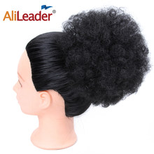 AliLeader Natural Clip In Afro Hair Bun Jet Black Brown Synthetic Kinky Curly Puff Ponytail Drawstring Extensions For Women(China)