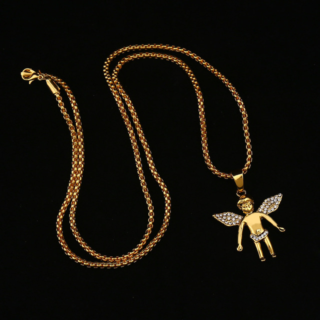 Fashion Jewelry Gold Chain For Men Vintage Accessories Angel Baby