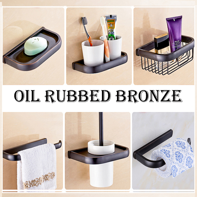 Oil Rubbed Bronze Bathroom Accessories Wall Mount Towel Paper Holder  Toothbrush / Soap Dish / Toilet