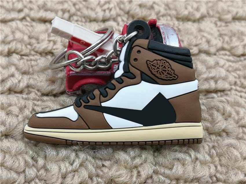 لطيف البسيطة سيليكون AJ 1 OG ترافيس Scottt أحذية حقيبة سلسلة مفاتيح سحر امرأة الرجال الاطفال مفتاح حلقة مفتاح حامل الهدايا شيك حذاء المفاتيح