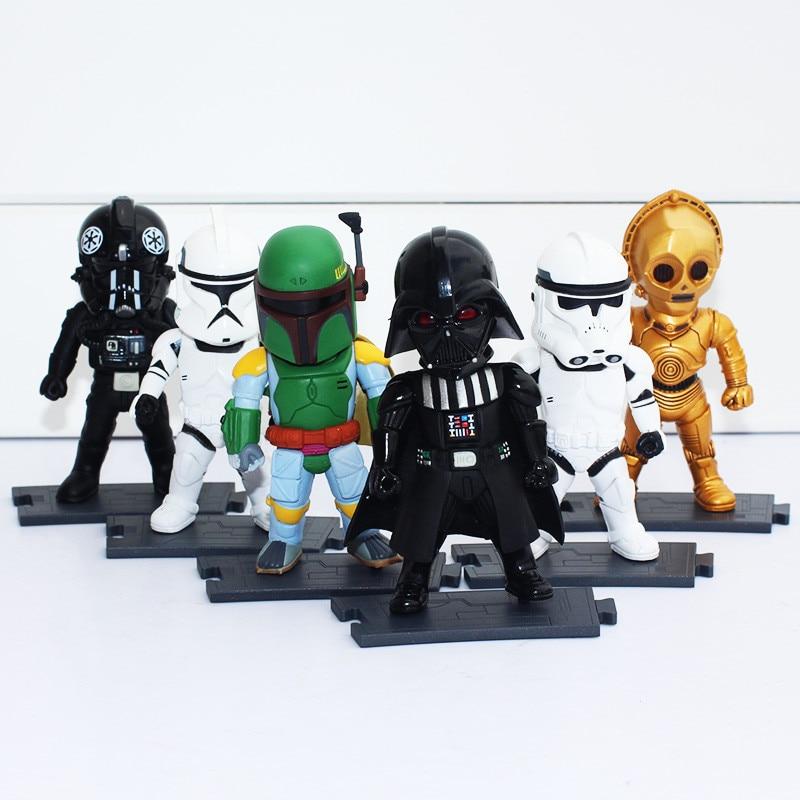 ФОТО 6pcs/set 9cm Star Wars Darth Vader Clone Trooper Storm Trooper Boba Fett C-3P0 Light Action Toy Figures