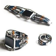 Браслет ручной работы из бисера в стиле ретро панк для Apple Watch 42 мм 38 мм из натуральной кожи для Apple iWatch 40 мм 44 мм Серия 1 2 3 4 ремешок