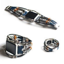 Handmade Bead Retro Punk Bracelet for Apple Watch Band 42mm 38mm Real Leather for Apple iWatch 40mm 44mm Series 1 2 3 4 Strap все цены