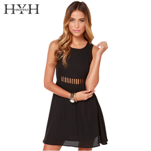 HYH HAOYIHUI Fashion Women Dress Solid 3 Colors Strap Sleeveless Crew Neck Vestidos Casual Slim Backless Cut Out Mini Dress casual sleeveless back cut out flare dress for women