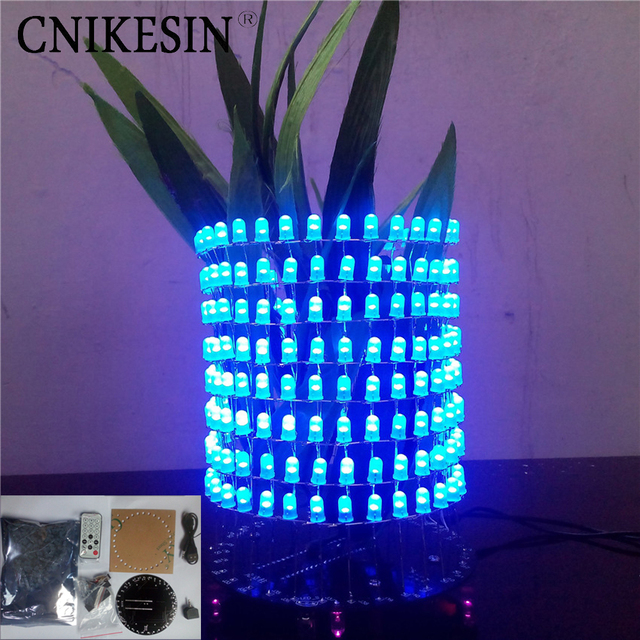 US $24 65 5% OFF|CNIKESIN DIY Dream light vertical ring LED Light Cube  music spectrum 8X32 circular lattice electron DIY electronic suite-in