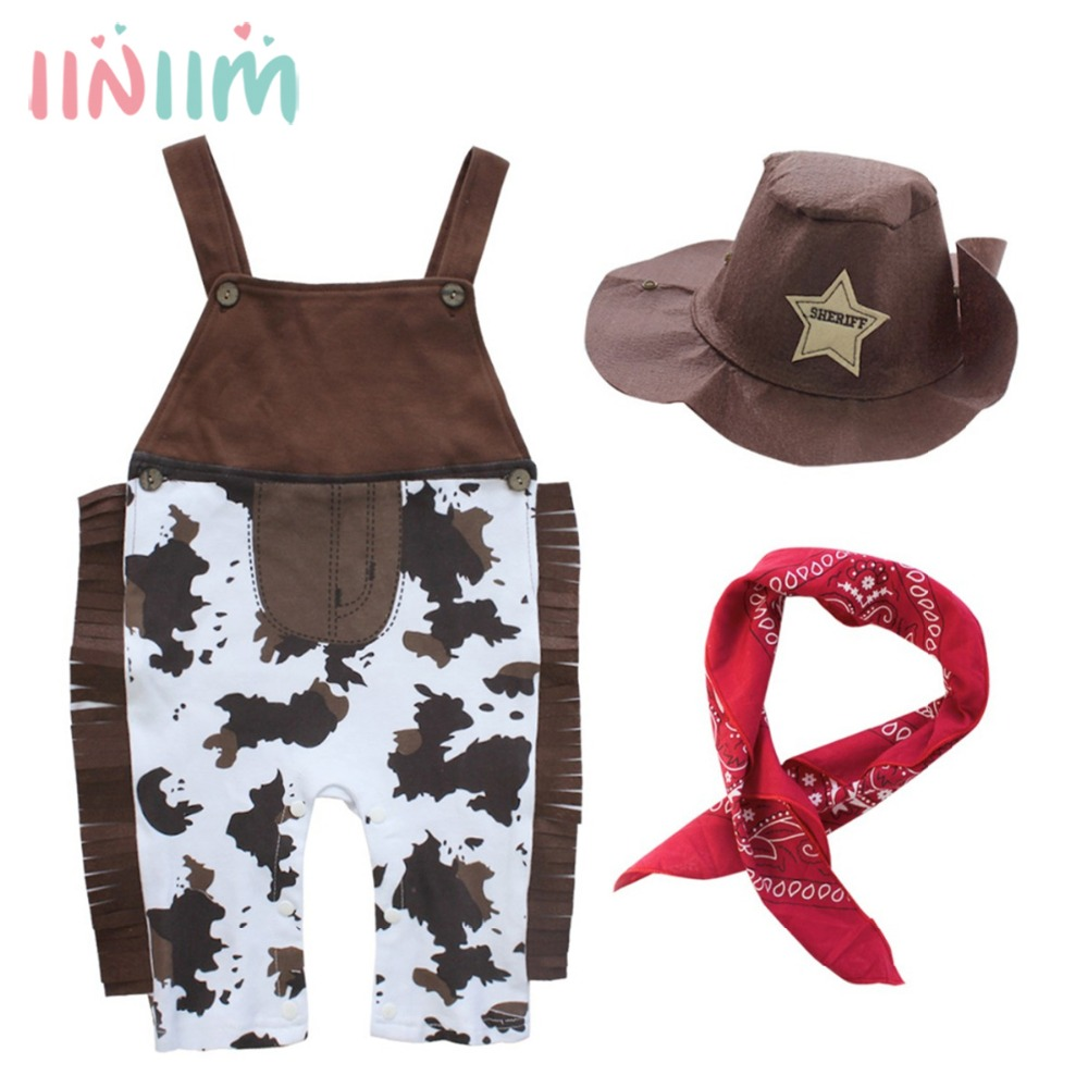 3PCS Cute Baby Cowboy Romper Costume CoInfant Toddler Bebe Boy Clothing Outfits Set Hat +Scarf +Romper Halloween Birthday Party purim pumpkin halloween costume for toddler bodysuit jumpsuit hat 3pcs baby boy clothes sets infant clothing ropa bebe nino