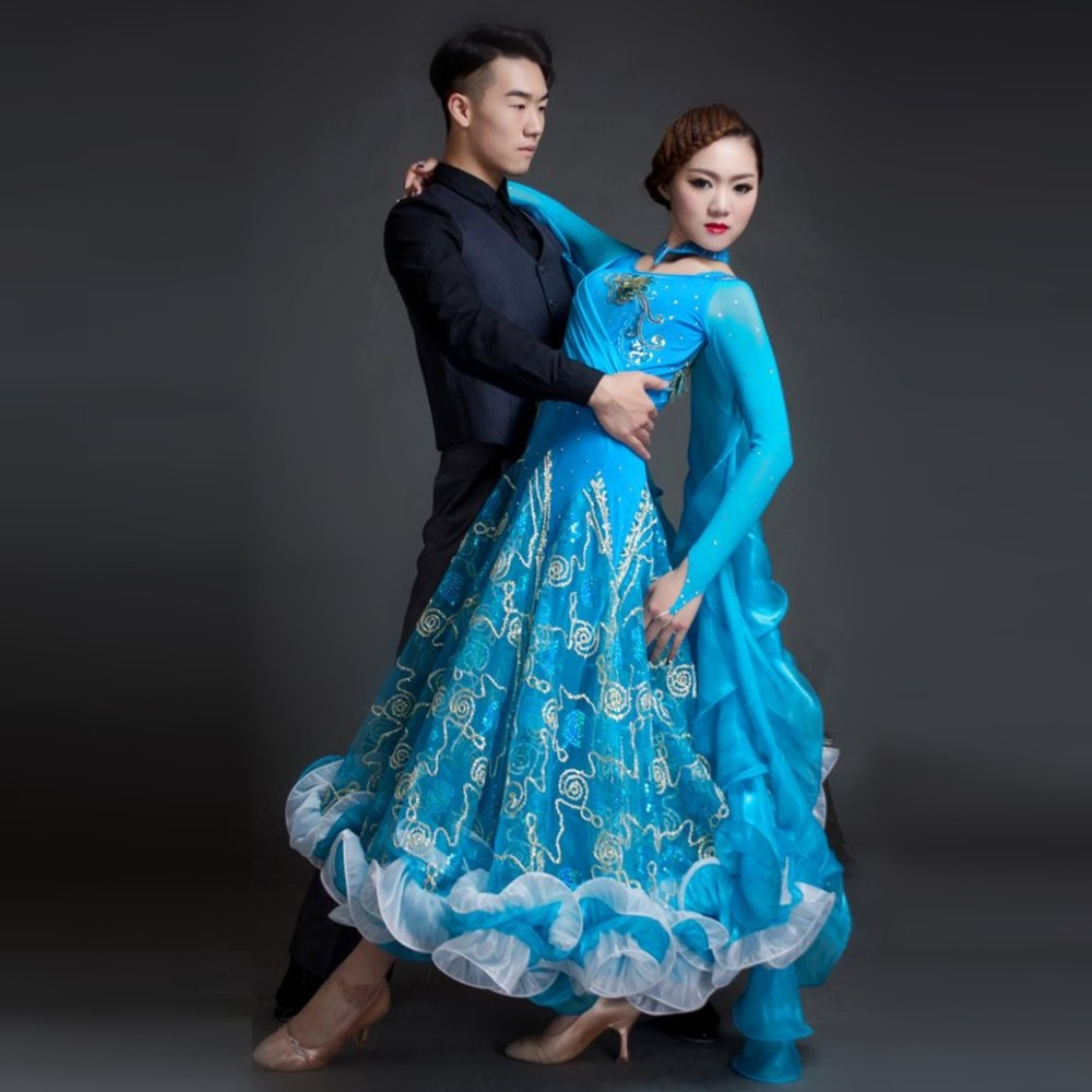 Picture of 2017 New Woman High-End Boutique Ballroom Dance Costume Dress For Competition Blue\/Red Sequins Waltz\/Tango\/Foxtrot Costumes