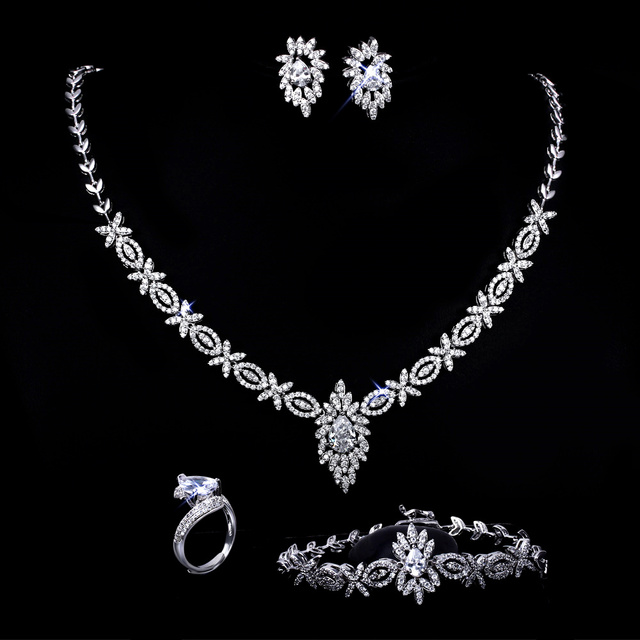 Fancy Trendy Set jewelry High end Fashion Wome Cubic zirconia