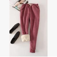 Winter Fleece Warm Women Harem Pants 2017 Big Size Elastic Waist Leisure Thicken Sweatpants Full Length 9 Color Loose Trousers 4