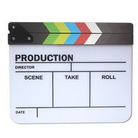 Outlets English Colorful Acrylic Clapperboard TV Film Movie Clapper Board 29.8*24.8cm Director Video Scene Slate Cut Action Prop