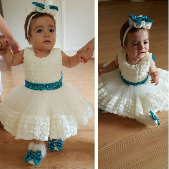 Pretty knee-length short ivory tulle flower girl dress with blue bow sash little kid Christmas day party gown for baby birthday new white ivory nice spaghetti straps sequined knee length a line flower girl dress beautiful square collar birthday party gowns