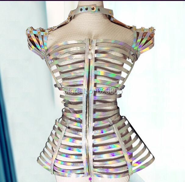 2016 Fashion Nightclub Bandage Laser Silver Costume Female Singer Stage Sexy Slim Clothing Bar Ds Dance