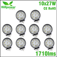 10pcs FREE SHIPPING 4 Inch Led Light Bar 12v 27w Led Work Light Spot Beam Offroad