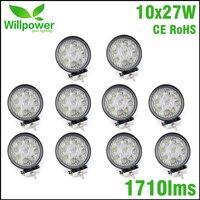 10pcs round work light 12v led work light flood spot beam Offroad Driving Light 27w 4 inch led car work light 24v