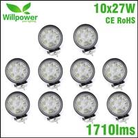 10pcs FREE SHIPPING 4 Inch Led Light Bar 12v 27w Led Work Light Spot Beam Offroad