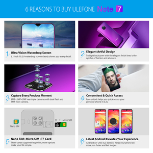 Image 5 - Ulefone Note 7 Smartphone 6.1 inch 19:9 Waterdrop Android 8.1 1GB+16GB Quad Core 3500mAh Face Unlock 3 Rear Camera Mobile Phone