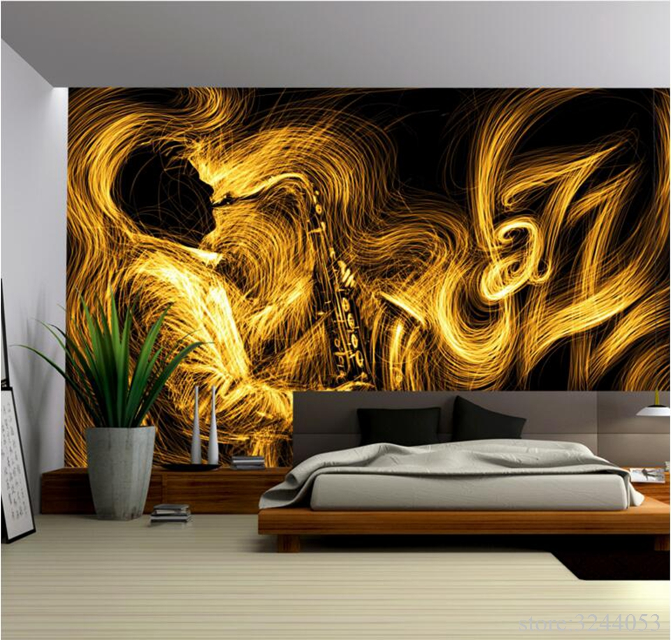 Gold Wallpaper for Walls Abstract Golden Saxophone Jazz Music Best  Wallpapers Bedroom Wall Art Wall Designs for Living Room
