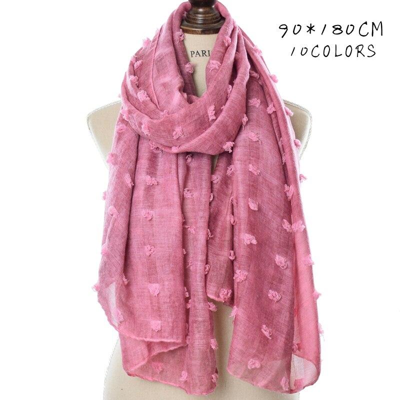 Image 2 - Цельнокроеный однотонный шарф в горошек, хиджаб, большой шарф,  шаль в стиле ислам, мягкие длинные мусульманские хлопковые накидки,  простой хиджабЖенские шарфы