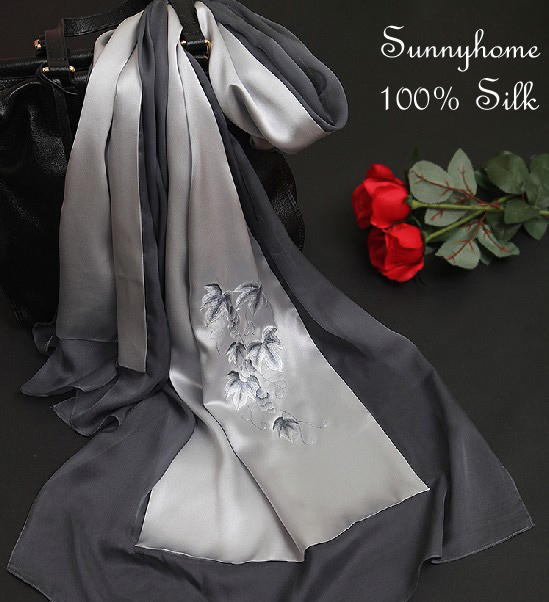 Foulard Turban Hijab 2016 Womens Scarfs Chinese Gray 100% Silk Scarves Silver Embroidery handmade Patchwork Shawls and Wraps