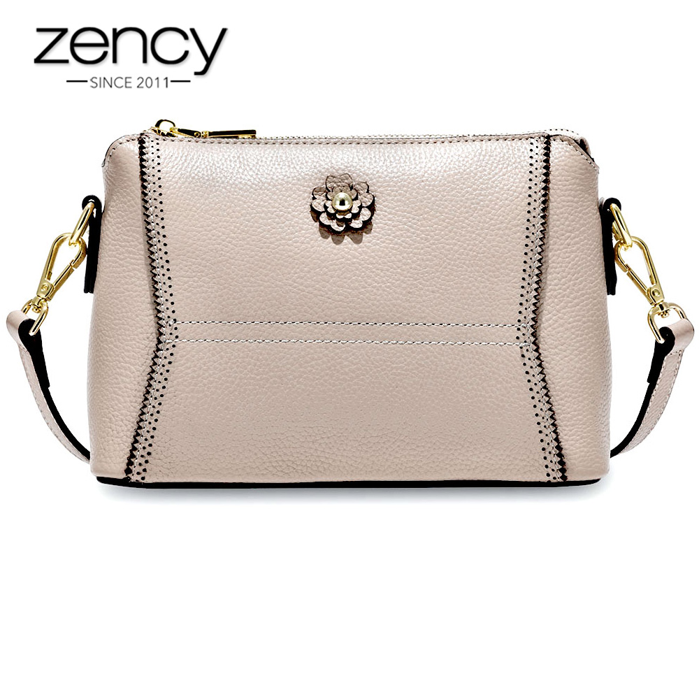 Zency Soft Skin 100 Real Cow Leather Fashion Women Messenger Bag Green Elegant Small Flap Crossbody