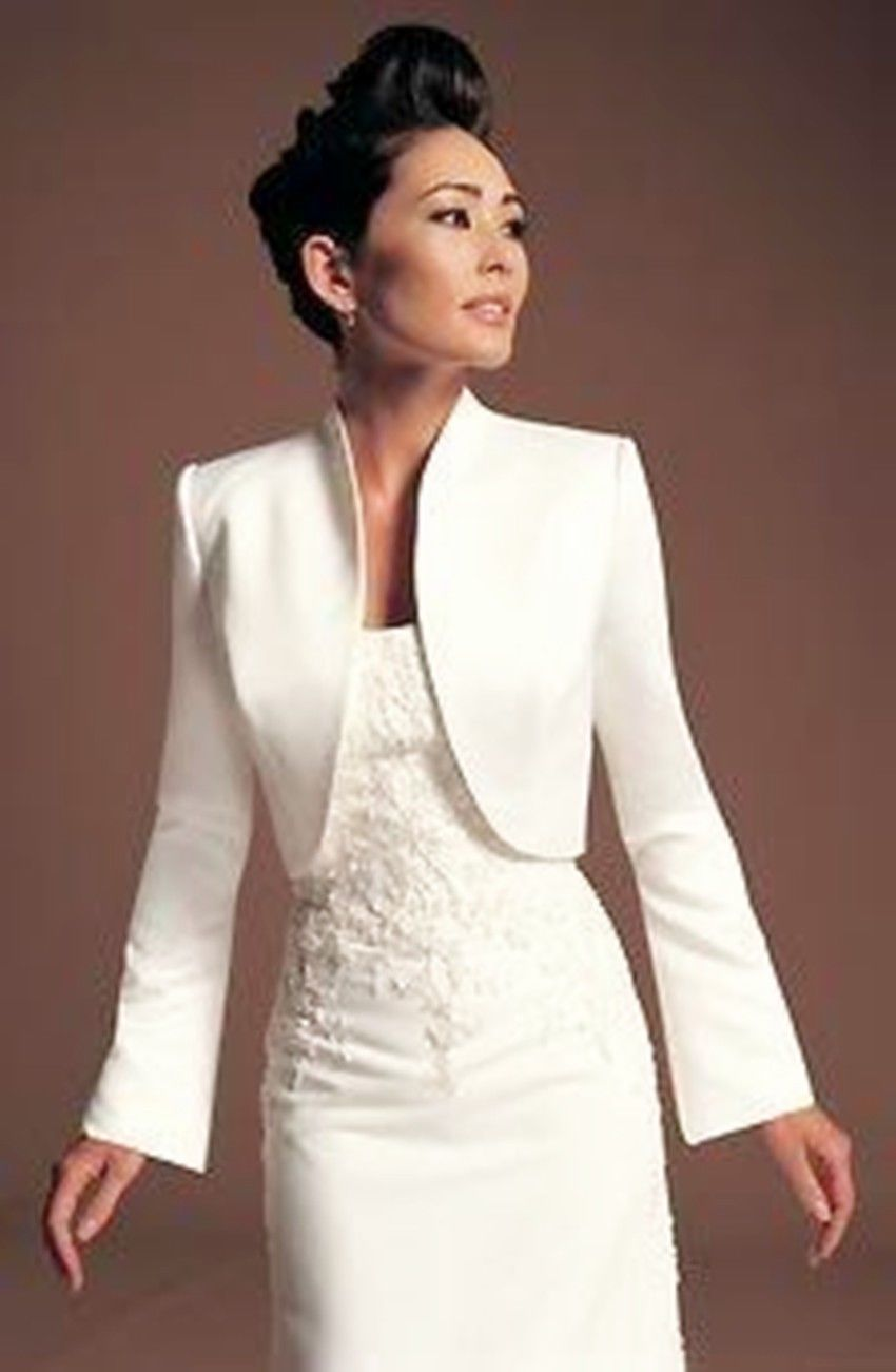 elengant stylish jacket satin boleroshrug coat wedding bridal dress long sleeves size s m l xl