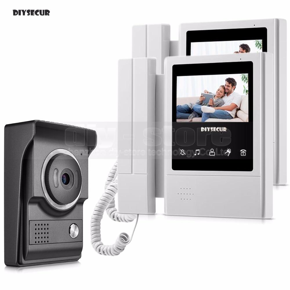 DIYSECUR 4.3inch Video Intercom Video Door Phone 700TV Line IR Night Vision HD Camera For Home Office Factory New 1V2