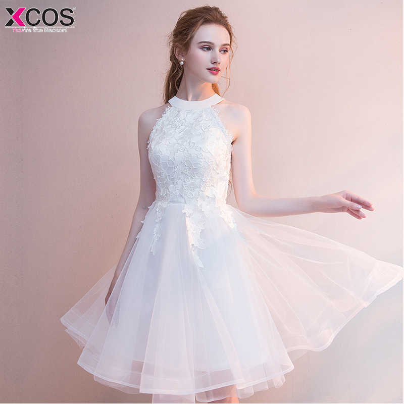 Short Prom Dresses 2018 Sexy Halter White Prom Gown Formal Dress Women  Occasion Party Dresses Robe e8ff818d3f9e