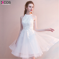 c42a752561f241 Short Prom Dresses 2018 Sexy Halter White Prom Gown Formal Dress Women  Occasion Party Dresses Robe