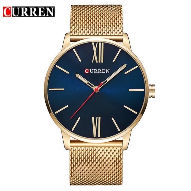 Curren Mens Watches Top Brand Luxury Gold Quartz Men Watch Waterproof Mesh Strap Casual Sport Clock Watch Relogio Masculino 8238 жен костюм арт 16 0202 зеленый р 58