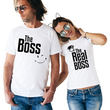 The Boss The Real Boss Funny Couple Matching T-shirts Husband and Wife Tees Love Couple Top Tee Summer Funny Printed Clothing