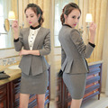 Formal Slim Fashion Long Sleeve Elegant Grey Uniform Styles Blazer Suits With Jackets And Skirt For Ladies Office Work Wear
