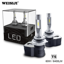 WEISIJI T5 H1 H3 H4 H7 H8 H9 H11 9003 HB2 9004 9005 HB3 9006 HB4 9012 D4C LED Headlight Bulb 60W 8400LM Car LED Headlights 6000K