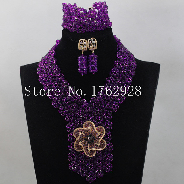 Charms Purple Necklace Set for Bride Crystal Seed Beaded Arab Wedding Party Jewelry Set Free shipping C0001159