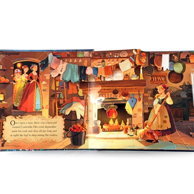 POP de cuento de hadas, Cenicienta educativo inglés 3D solapa libros niños libro de lectura