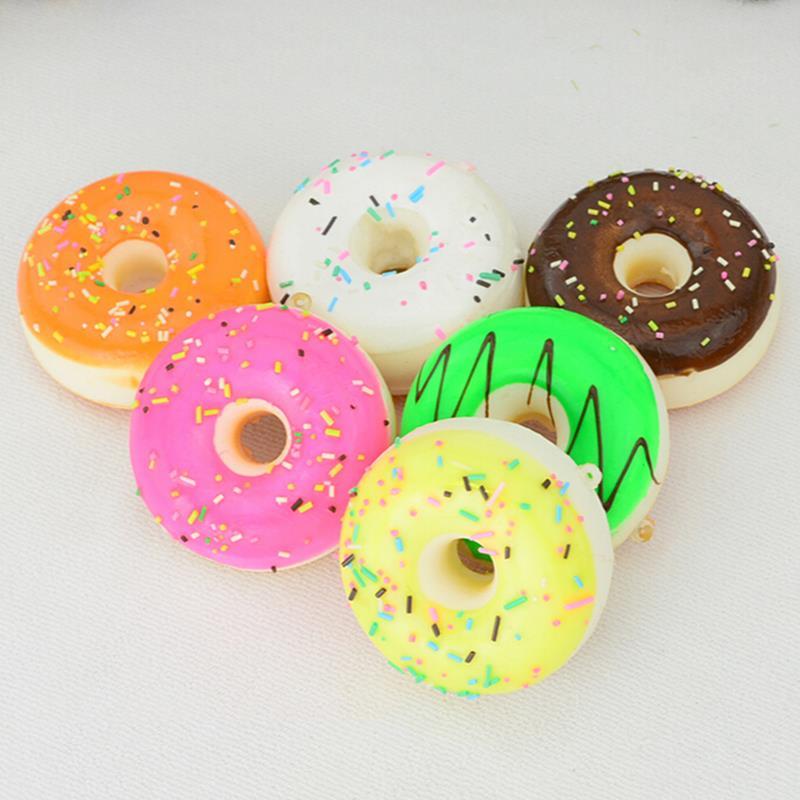1 Pcs  4.8cm New Colorful Cell phone Bag Pandent Soft Cute Squishy Charms Key Bag Donuts Squishy Kawaii Straps Charm Chain