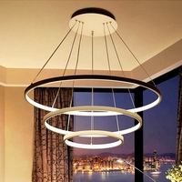 LukLoy Large Round Ring Acrylic Chandelier Hotel Hall Modern Ceiling LED Light Loft Hanging Lamp Hanglamp Pendant Luminare