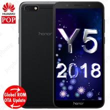 Küresel Firmware Huawei Y5 prime 2018 Cep Telefonu honor 7 play Quad Core 5.45 ''1440*720 P 5.0MP 13.0MP Android 8.1 Yüz Kilidin...