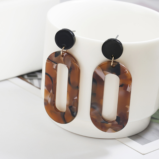 Acrylic Resin Tortoise Shell  Earrings for Women