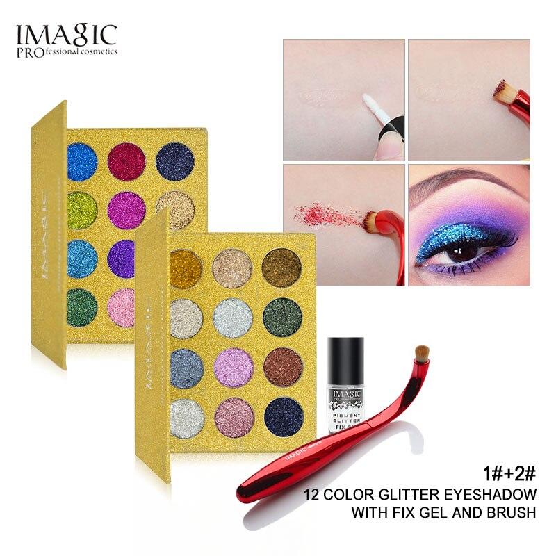 IMAGIC Rainbow Glitter Glitters Injeções Pressionado Sombra Único Diamante Maquiagem Cosméticos sombra de Olho Paleta Ímã